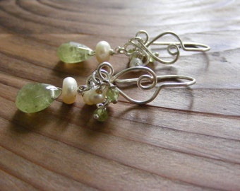 Fresh Water White Pearls with Grossular Garnet Briolettes.  Sterling Silver Fancy Hearts.