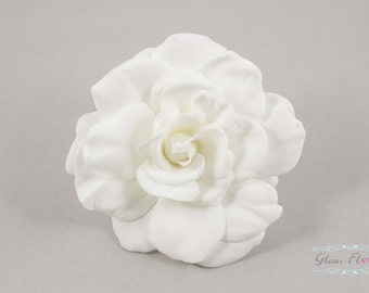 Real Touch Gardenia Hair Clip / Brooch / Corsage, Real Touch Gardenia Rose Fascinator in Natural Cream White
