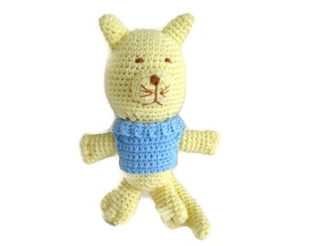 Crochet Yellow Kitty Cat Meow Handmade Soft Stuffed Doll Toy Plush Animal with Light Blue Sweater for Infant Baby Babies and Kids Children