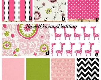 Custom Crib Bedding You Design   Bumper and Bedskirt in Pink Green and black