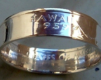 2008 Silver Hawaii State Quarter Coin Ring  (90% Silver) (Available in sizes 4 through 9)