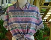 HALF OFF SALE Pink & Blue Aztec Tribal Stripe Denim Button Up Shirt