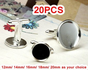 20 Cufflinks- Brass Silver Plated Tone Cufflink W/ Round Bezel Cup Mountings, 12mm/ 14mm/ 16mm/ 18mm/ 20mm as your choice