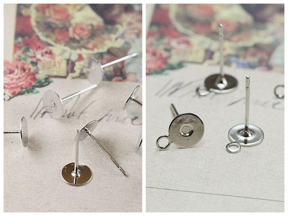 100 Earring Posts- Stainless Steel White Gold Plated Tone 6mm Round Pad Settings, With ring/ Without ring (Rubber Ear Nuts included)