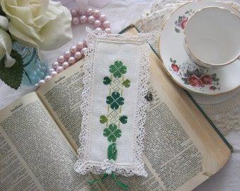Victorian Clover Lace Cross Stitch Book Mark-Free Shipping
