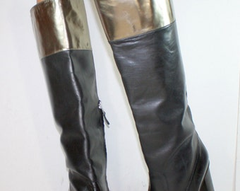 Vintage black gold Diane von Furstenberg high heel campus knee high womens tall Leather fashion boots 9 M B