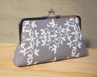 Gray & White Floral Pattern - 8 inches Bridesmaid Clutch - the Florence Style Clutch