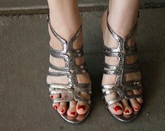 Vintage 80's Silver Gladiator Stilettos FAUX SNAKESKIN (Size 9)