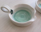 Tea Bag Holder Ceramic Pottery  Candle Holder  Ring Holders Handmade Pottery Turquoise  and White Stoneware Clay
