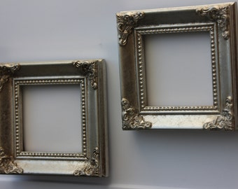set of 15 mini vintage style frames silver chrome metallic placecard table number menu label frame - Mini Picture Frame