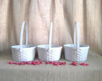 Slightly Shabby 2 White Flower Girl Baskets / Favor Baskets / Program Baskets / 2 Baskets for Wedding or Reception Decor /