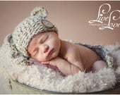 Download PDF crochet pattern s025 - Chunky Rustic bear hat and mini-blanket