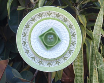 Green Repurpose Glass Plate Flower vintage garden art