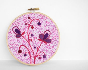 "Embroidery Hoop Art, Purple Pink and Red Hand Embroidered Botanical Art. Abstract Leaf and Flower Fiber Art in 5"" Hoop For the Home"