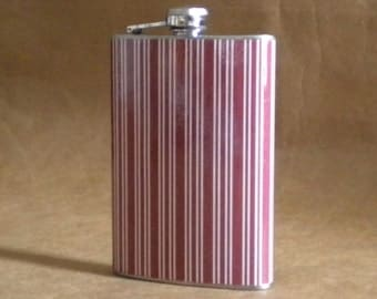SALE Flask Red and White Stripes Print 8 ounce Stainless Steel Hip Flask KR2D6561