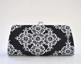 Linda Lace in Black - Bridesmaid Clutch - Custom made clutch - Wedding clutch - Gift idea - For her