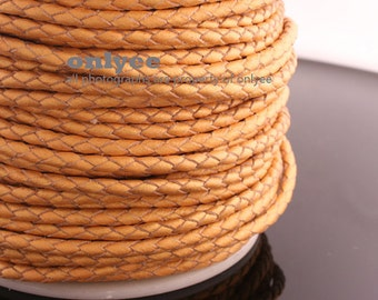 1yd(Approx.5Bracelets) 3mm Braid Leather Cord,Braid Leather straps For jewelry ,ofindingsEurpe Bracelets-Gold(N129B)