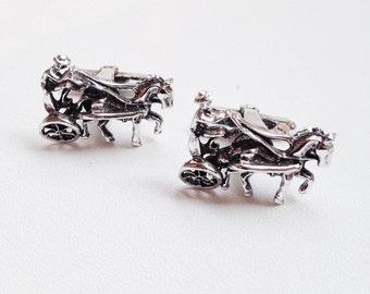 equestrian cuff links / 60s silver cuff links / wedding groom / vintage mens