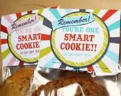 Printable Smart Cookie Topper, Blue, Instant Download Good Luck on Tests Finals, JPEG file