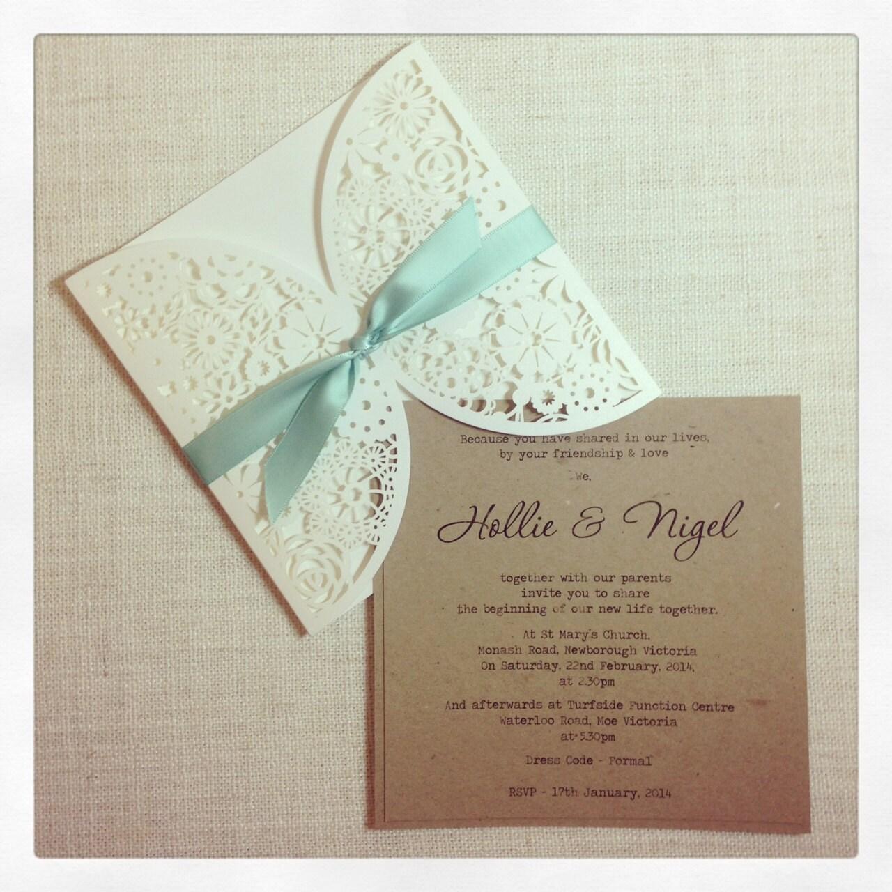 Rustic mint laser cut wedding invitation by stunningstationery for Laser cut wedding invitations minted