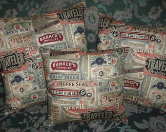 Fabric Accent Pillow Cover Tim Holtz Cigarbox Labels Cotton Blend Envelope Closure Available in Different Sizes Home Decor Decorative