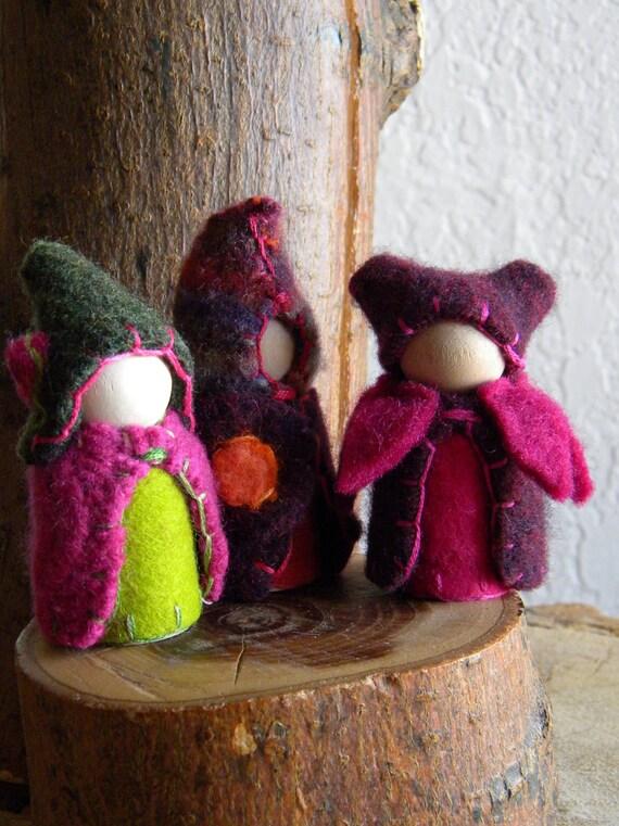 Waldorf Peg Dolls, Waldorf Gnomes, Tulip, hot pink, orange, green, flower, stocking stuffer toy, Upcycled, Wood, Wool Felt