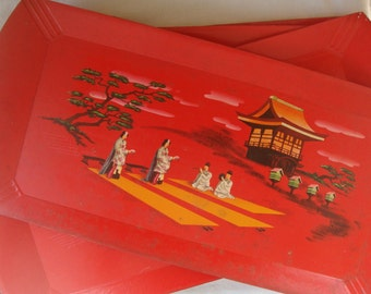 8 VINTAGE BUFFET SERVING Trays Red Asian Scenic Lap Trays Super Groovy Art Lap Trays Fine Wood Art Trays Orginal Box Lithographed Art Trays