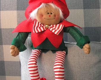 PDF E-Pattern Christmas Elf Santa's Helper Primitive Raggedy Holiday Doll Folk Art Handmade Sewing Craft