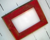 4x6 Picture Frame, Red Rustic Weathered Style With Routed Edges, Rustic Home Decor