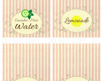 Printable DIY Spa Party Table Tent Food Labels- 4 labels customized
