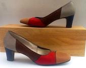 VTG 60s Color Block Shoes Pumps,Patchwork Shoes, Fall Colors VTG Shoes, MOD Shoes, Vintage Naturalizer Suede Shoes