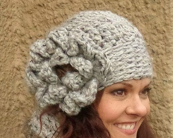 Chunky Hat, Chunky Slouch, Girly Hat, Girly Slouch, Girly, Chunky Flower, Coconut Button, Fashion Hat, Fashion Slouch, Silver Gray Slouch