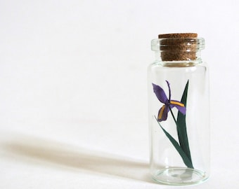 paper flower sculpture in jar tiny purple iris handmade