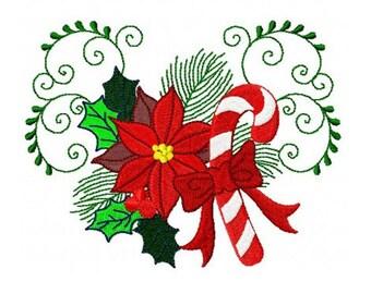 Set of 10 Christmas poinsettias flowers machine embroidery design 4x4