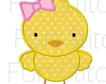 Easter girl chick applique machine embroidery design instant download