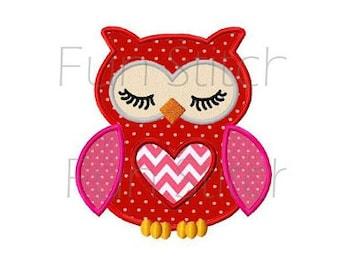 Valentine love owl applique machine embroidery design