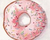 Pink Donut Watercolor Painting Print, Doughnut with Pink Frosting and Sprinkles from Above, 5x7 Print