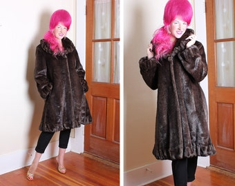 DECADENT 1960's Luxurious Buttery Soft Faux Chocolate Brown Supple Mink Fur Dress Coat w Frilled Collar, Cuffs & Hem - Pockets - Size M to L