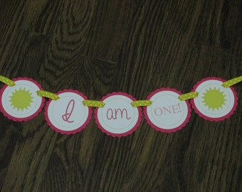 READY to SHIP Sunshine Girl: High Chair Banner. I am One banner. First Birthday Banner. Suns. Sunshine. Sunny. Yellow Pink