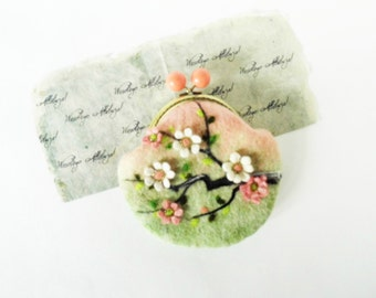 Wet Felted Sakura Pastel colors coin purse Ready to Ship with bag frame metal closure Handmade gift for her