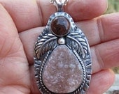 Native American Inspired Druzy Quartz and Jasper Sterling Silver Pendant