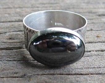 Native American Inspired Hematite/Hemalyke Sterling Silver Ring - Size 12-1/4