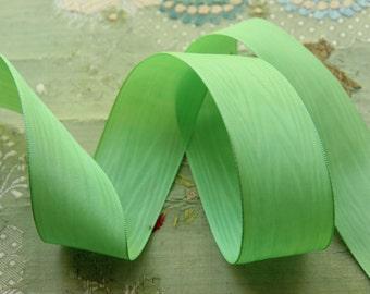 vintage 1 yard rayon woven moire ribbon trim nile green millinery hat trim flapper cloche