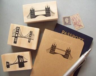 Bridge Stamp - London Bridge Golden Gate Bay Bridge Brooklyn - Travel Skyline Silhouette Destination Wedding Vacation Rubber Stamp