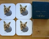 Yorkshire Terriers Yorkie Boxed 4 Drink COASTERS Maple Designs Signed Robert May 1993