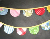 Bright and Colorful Scallop Bunting Garland / Vintage Nursery Decor / Girl Baby Shower / Birthday Party / Small Scallops / Playroom Decor