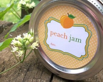 Cute Peach Jam canning jar labels, round stickers for regular or wide mouth mason jars, jam jar labels