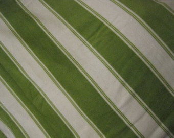 Fleece Blanket of Green and White Stripes with Brown - Ready to Ship Now