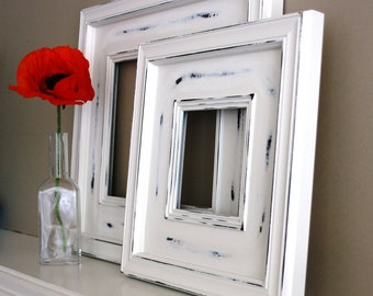 Sizes 4x4 to 8x8 Wood Picture Frame / Cape Cod White / Plein Air Style
