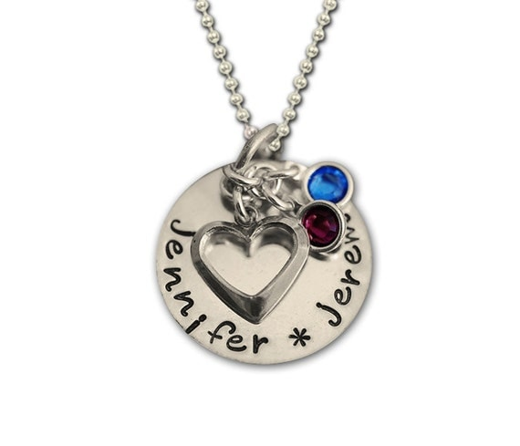 Room For Two... Hand Stamped Silver Heart Charm Necklace